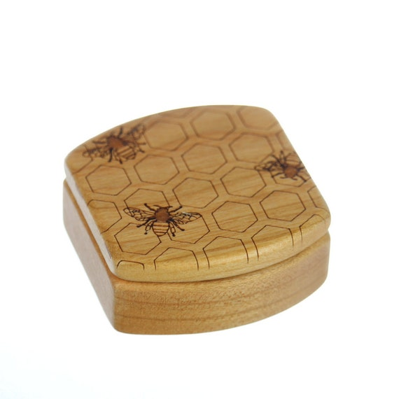 "Honey Bee Wooden Box, Solid Cherry, Pattern MS16 Honey Bees, 1-3/4""L x 1-7/8""W x 7/8""D, Paul Szewc, Masterpiece Laser"