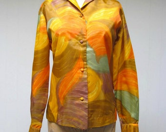 Vintage 1950s Blouse / 50s Abstract Earthtone Nylon Hawaiian Top / Medium