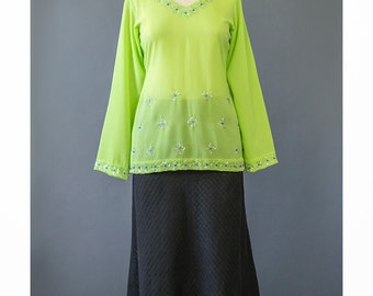 Vintage Bohemian Blouse 70s Indian Tunic Embroidered Blouse Ethnic Top Sheer Green Chiffon Blouse India Blouse 1970s Boho Tunic Blouse XS/S