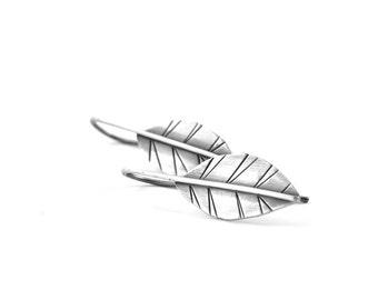 Leaf earrings silver - leaf jewelry - silver leaf earrings - leaf drop earrings - botanical jewelry - boho earrings