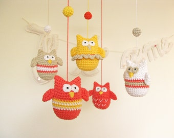 Crochet Owl Baby Mobile Nursery, Bird Woodland Mobile, Wild Animal Mobile, Woodland Nursery Decor