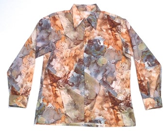 Granite Stone Shirt Vintage Abstract Nature Print 1970s Shirt Disco Shirt Brown Gray Golds Marbleized Look Long Sleeve Natural Earth Day