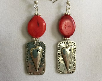 Silver Heart and Red Coral Earrings