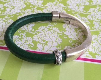 Silver Cuff and Leather Bracelet