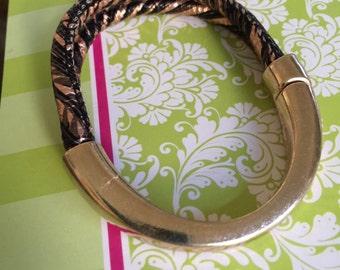 Gold Half Cuff Leather Bracelet