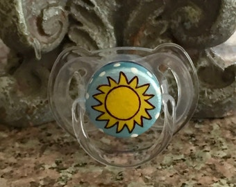 You Are My Sunshine Custom Blue Hand Painted Pacifier by PiquantDesigns