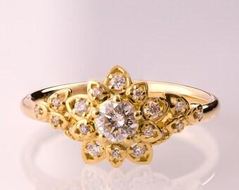 Diamond Art Deco Petal Engagement Ring No.2B - Unique engagement ring, leaf ring, flower ring, antique, vintage, halo ring