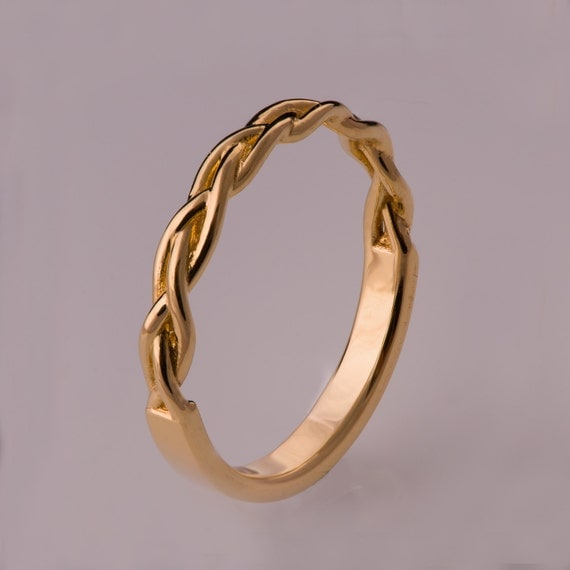 Braided Ring No 4 14k Gold Stackable Ring Wedding By