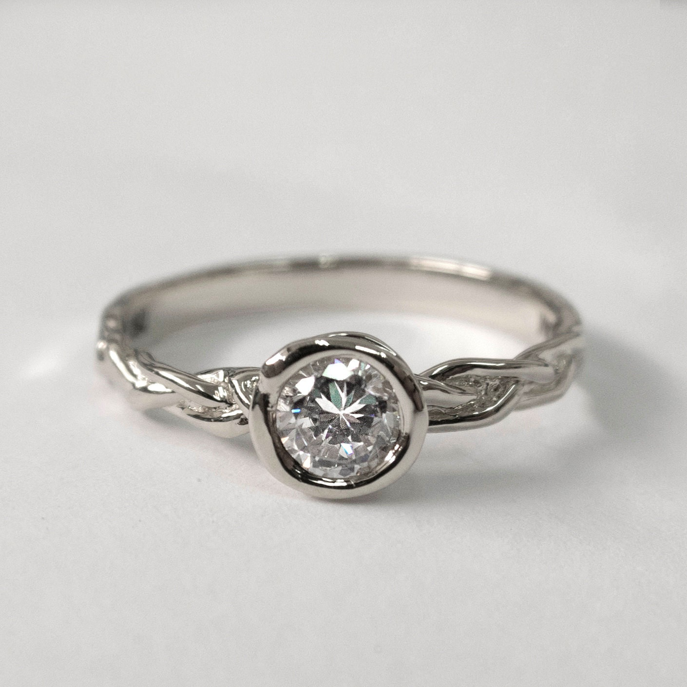 braided engagement ring platinum engagement unisex by