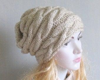 Slouchy Beanie Hat Handmade Hat Warm Hat Beanie Hand Knit Hat Winter Slouchy Hat Women Beanie Hat Womans Hat Women Knit Hat Men Knit Hat GR