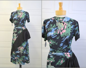 1940s Floral Print Dress with Pleated Diagonal Ruffle