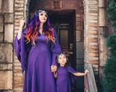 Savannah Desert Dress and Cape ~ Long Purple Dress and Capelet ~ Made to Measure ~ Handfasting ~ Medieval ~  Samhain ~ Wedding Dress ~