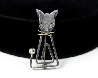 Modernist Sterling Cat Brooch by Delfino, Taxco