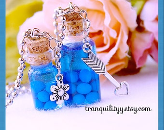 Nightlock Berries Necklace ,Potion Necklace Potion Inspired , glass vial  1ml , 2ml Bottle necklace,  By: Tranquilityy