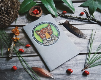 Little Fox Patch Gray Moleskine Notebook Journal Handcarved Carved Hand Colored Carved Blockprint Woodland Nature Outdoors Camp Hiking Giftt