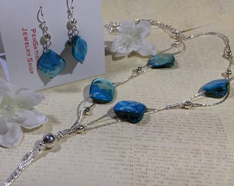 Blue Shell Double Strand -  Necklace & Earrings - Hand Crafted (#55)