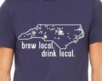Drink Local - North Carolina Craft Beer Brewery Map T-shirt for Homebrewer Beer Geek Great Christmas Birthday Fathers Day Gift