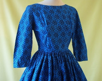 Striking Vintage 1950s Horrockses Fashions Floral Print Full Skirt Day Dress XS Extra Small 24 25 Waist