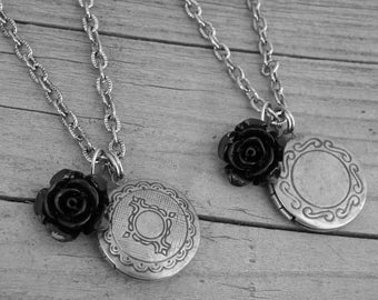 Vintage Ornate Silver Locket Necklace with Black Rose Antique Locket Photo Locket Silver Locket Jewelry Gothic Goth
