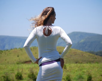 Long Sleeve Fitted Eco Friendly Jersey Top with Back Cut Out and Ties - White Vanilla - Organic Clothing
