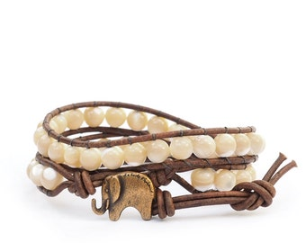 the Lucky Elephant Button Leather Wrap Bracelet- Natural Stone, Shell - the Lucky Elephant Exclusive
