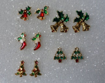 5 Pairs Of Christmas Earrings! Tiny Christmas Earrings! Christmas Trees! Christmas Bells With Holly! Christmas Stockings Free Shipping Sale!