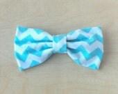 Clip on bow tie, for men, boys or toddlers - Aqua Chevron