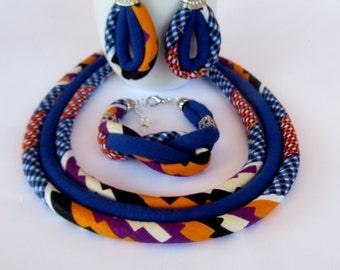 Cobalt-Blue Kente Set - African Jewelry  Earrings Bracelet Necklace Set