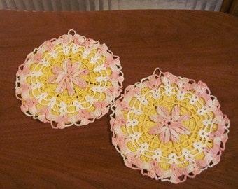 Vintage 80's Needlework Goldenrod, Soft Pink and Cream Ribbon Rosette Potholders - pair - Doilies - Kitchen Trivets - Crochet Pot Holders
