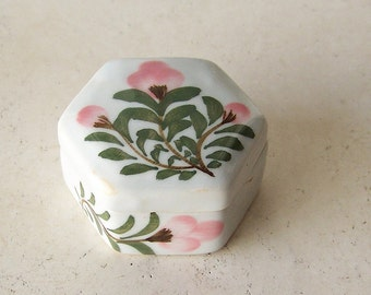 Vintage Hexagon Trinket Box Floral Porcelain Engagement Ring Box Keepsake Box Pink Floral ca. 1990