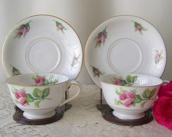 Vintage China Teacups Pink Rose Pair of Footed Teacups Gold Trim Brides Teacup Vintage Wedding Shabby Cottage Gift For Mom 1980s