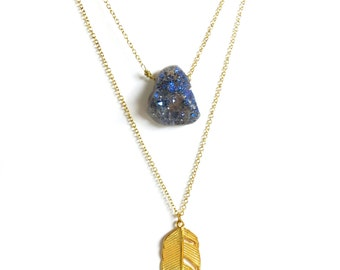 Gold Feather Druzy Double Strand Necklace