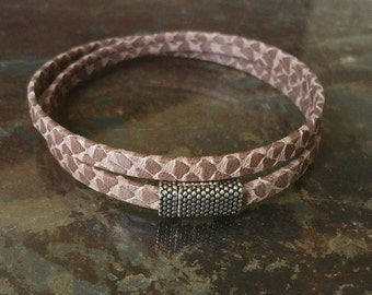 Leather Wrap Bracelet, Taupe Leather Wrap Bracelet, Taupe Leather Bracelet, Leather Bracelet, Wrap Bracelet, Taupe Wrap, Taupe Bracelet