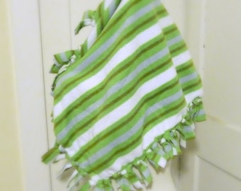 Green Striped Pet Blanket, Cat or Small Dog Pet Bed, Fleece Lap Blanket, Fleece Stripes Blanket