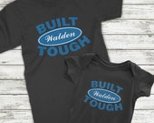 Dad and Baby Matching shirts, Ford Built Tough matching Dad and Baby Onesie, Father son matching outfit, Custom design your last name