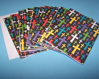 Christian Notecards. Inspirational Boxed Notecards. Holy Crosses Cards. Encouragement Stationary Set. Religious Thank You Cards.