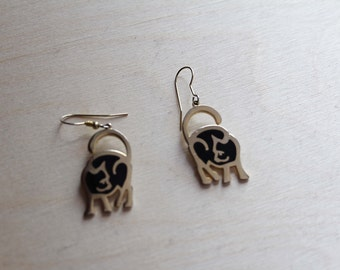 80s / 90s cat earrings, metal and enamal hook dangle earrings, signed DURI