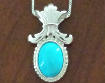 Turquoise and Sterling Silver Pendant with Sterling Silver Box Chain...FREE SHIPPING