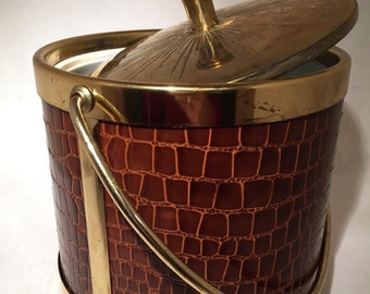 Vintage Ice Bucket with Brass Details