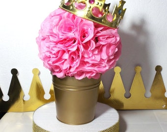 FLOWER PAIL Royal Princess Baby Shower Table Centerpiece / Girls Little  Princess Pink And Gold Baby