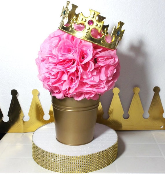 Flower pail royal princess baby shower table centerpiece
