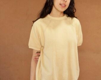 80s flashdance bright yellow COLOR BLOCK short sleeve sweatshirt ATHLETIC sportswear vintage top