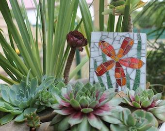Garden outdoor mosaic wall art - Red Daisy