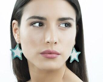 Star dangle earrings, Cute star earrings, Blue white star earrings, Beach summer earrings, Wood star earrings, Pretty long earrings