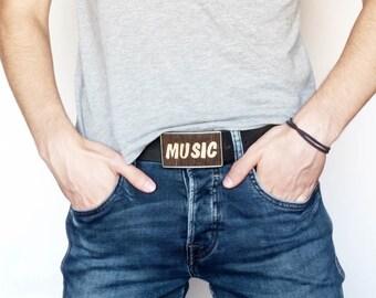 Music belt buckle, belt buckle, modern belt buckle, belt buckle men, belt buckle unisex, buckle handmade, wood accessories, cool belt buckle