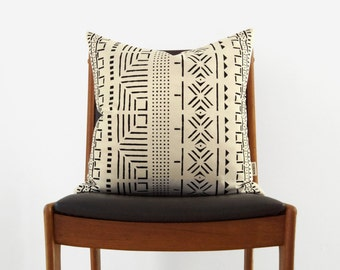 18x18 Mudcloth Pillow Cover | Black and ecru African Mud Cloth Hand Printed Decorative Cushion, Throw Pillows, Case | Tribal Bohemian Decor