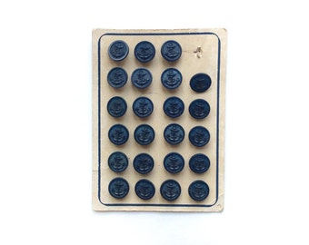 4 Anchors Buttons, Navy Blue Vintage Buttons, Nautical, Shank