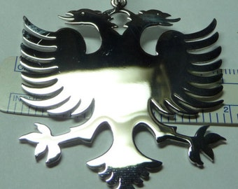 albanian eagle, 2''' size 1 mm thick . solid sterling silver. Rhodium  plated. eag12