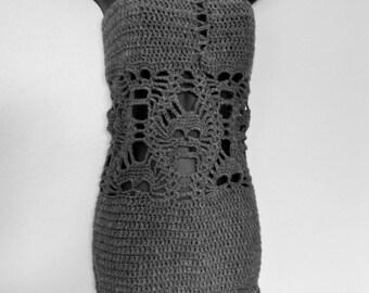 Grey Crochet Skull Dress