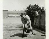 "Vintage Photo ""Babysitting Turkey"" Farm Snapshot Photo Old Antique Photo Black & White Photograph Found Photo Paper Ephemera Vernacular - 26"